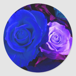 Blauer lila Rosen-Aufkleber - kundengerecht