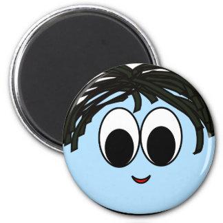 Blauer lustiger Smiley-Magnet Runder Magnet 5,1 Cm