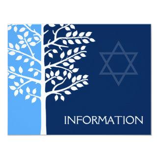 Blauer Marine-Baum von Leben-Bar Mitzvah 10,8 X 14 Cm Einladungskarte