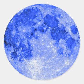 Blauer Mond Runder Aufkleber