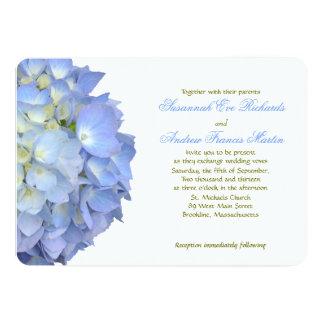 Blauer Mondhydrangea-horizontale Hochzeit Karte