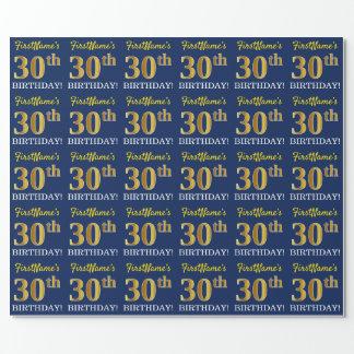 """Blauer, nachgemachter Goldblick """"30. GEBURTSTAG """" Geschenkpapier"""