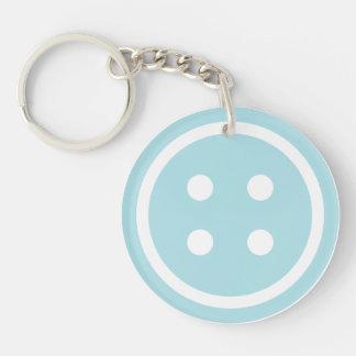 Blauer nähender Knopf Schlüsselanhänger