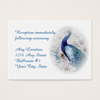 Blauer Pfauwatercolor-Hochzeits-Empfang Visitenkarte