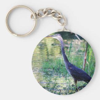 Blauer Reiher im Teich Schlüsselanhänger