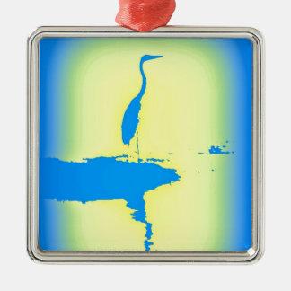 blauer Reihersonnenaufgang Quadratisches Silberfarbenes Ornament