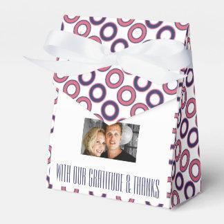 Blauer rosa Hochzeits-Tupfen 4 Geschenkkarton