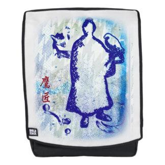 Blauer Samurai-Aquarell-Graffiti-Falke-Lord Rucksack