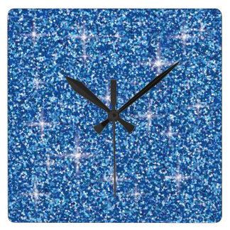 Blauer schillernder Glitter Quadratische Wanduhr