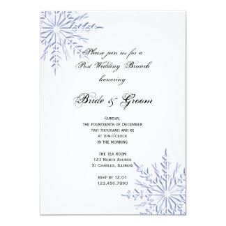 Blauer Schneeflocke-Winter-Posten-Hochzeits-Brunch 12,7 X 17,8 Cm Einladungskarte