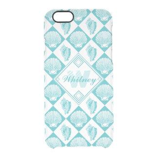 Blauer Seashell-Diamant-Seestrand-Monogramm Durchsichtige iPhone 6/6S Hülle