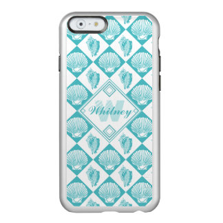 Blauer Seashell-Diamant-Seestrand-Monogramm Incipio Feather® Shine iPhone 6 Hülle