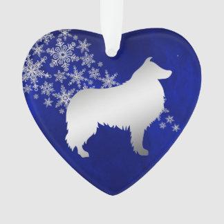 Blauer silberner Schneeflocke-Collie-Hund Ornament