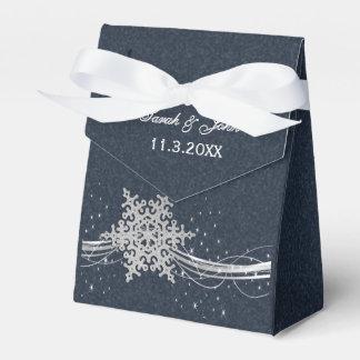 Blauer silberner Schneeflocke-Winter-Gastgeschenk Geschenkkarton
