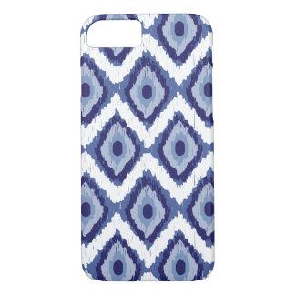 Blauer Stammes- Ikat Diamant-weißes Zickzack iPhone 8/7 Hülle