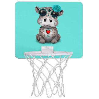 Blauer Tag des toten Baby-Flusspferds Mini Basketball Ring
