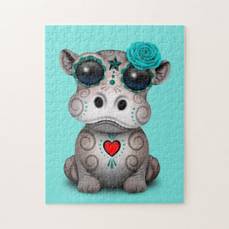 Blauer Tag des toten Baby-Flusspferds Puzzle