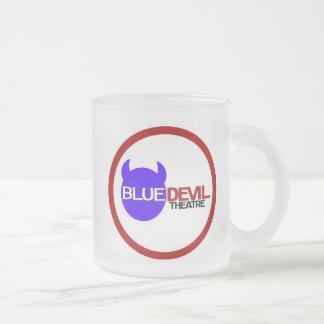 Blauer Teufel-Theater-Logo-Glas-Tasse Matte Glastasse