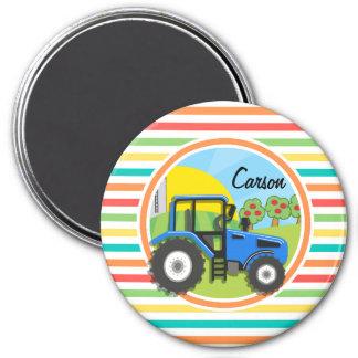Blauer Traktor Helle Regenbogen-Streifen Magnete