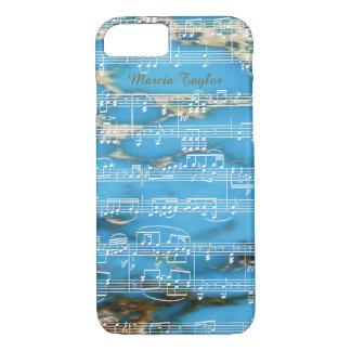 blauer Türkismarmor mit musikalischen Anmerkungen iPhone 8/7 Hülle