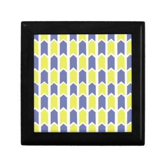 Blauer und gelber Platten-Zaun Schmuckschachtel