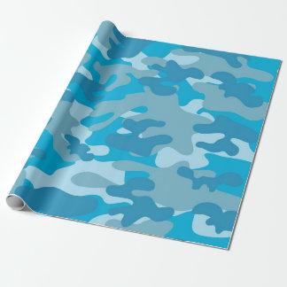 Blauer und grauer Camouflage-Entwurf Geschenkpapier