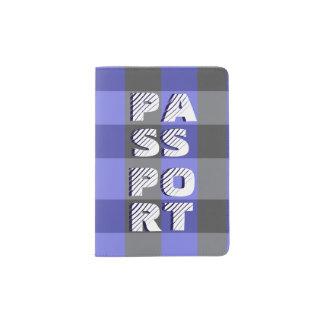 Blauer und schwarzer karierter Pass-Halter Passhülle