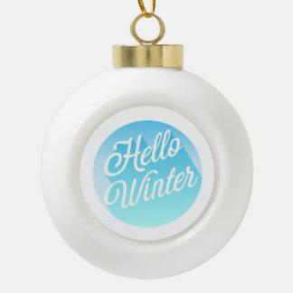 Blauer und Weiß-hallo Winter Keramik Kugel-Ornament