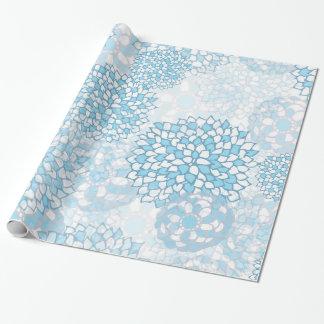 Blauer und weißer Blumen-Entwurf Geschenkpapier