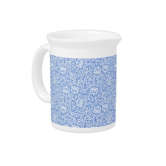 Blauer und weißer BlumenTudor Damast-Vintage Art Getränke Pitcher