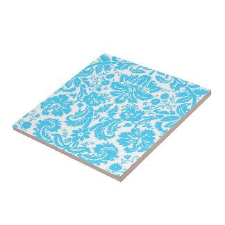 Blauer und weißer extravaganter Damast gemustert Kleine Quadratische Fliese