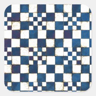 Blauer und weißer gebrochener Quadrat-Aufkleber
