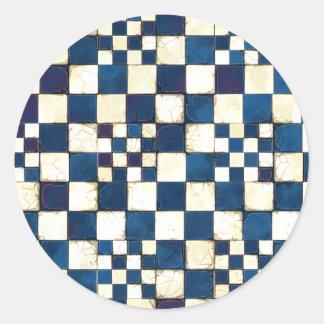 Blauer und weißer gebrochener runder aufkleber