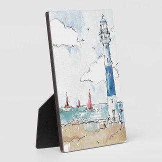 Blauer und weißer Leuchtturm Fotoplatte