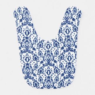 Blauer und weißer Marokkaner Casbah Damast Lätzchen