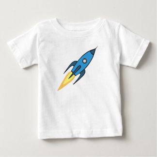 Blauer und weißer Retro Rocketship Cartoon-Entwurf Baby T-shirt