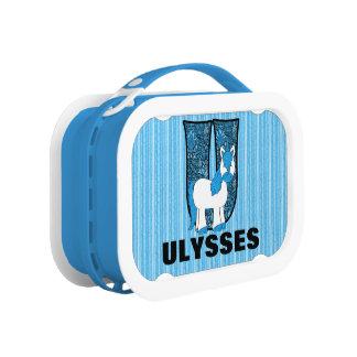 """Blauer Unicorn mit Monogramm """"U """""""