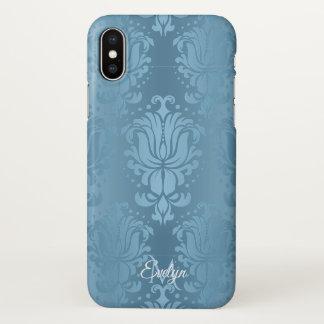 Blauer Vintager Blumendamast-Monogramm iPhone X iPhone X Hülle
