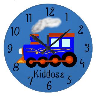 Blauer Vintager themed Zug Große Wanduhr