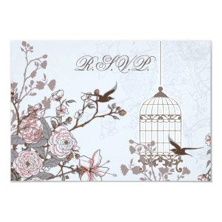 blauer Vogelmit blumenkäfig, Liebevögel UAWG 3,5 x 8,9 X 12,7 Cm Einladungskarte