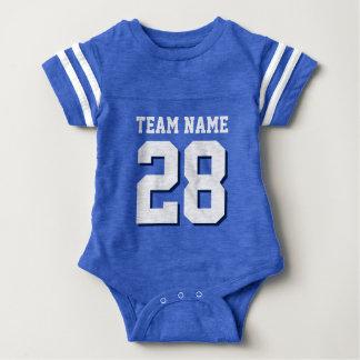 Blauer weißer Fußball Jersey trägt Baby-Spielanzug Babybody