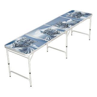 Blauer weißer Tiger Beer Pong Tisch