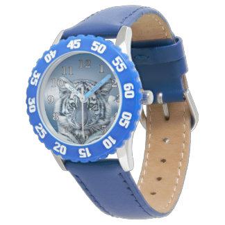 Blauer weißer Tiger Handuhr