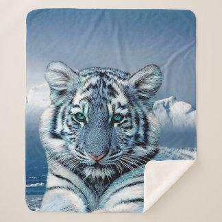 Blauer weißer Tiger Sherpadecke