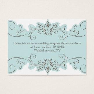 Blauer Wirbels-elegante Hochzeits-Empfangs-Karten Visitenkarte