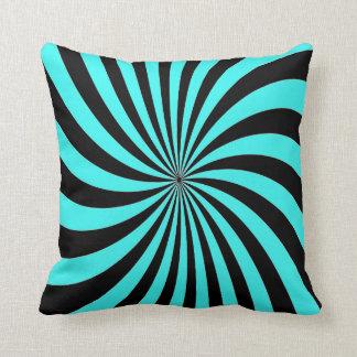 Blaues abstraktes Schwarzes des Aquaschwarzes Kissen