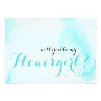Blaues Aquarell | sind Sie mein Flowergirl 12,7 X 17,8 Cm Einladungskarte