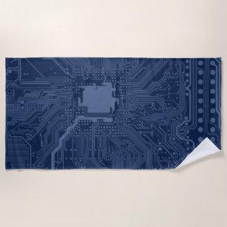 Blaues Aussenseiter-Motherboard-Stromkreis-Muster Strandtuch