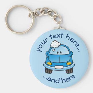 Blaues Auto mit Blasen Schlüsselanhänger