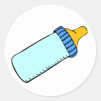 Blaues Baby-Flasche Runder Aufkleber